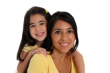 woman and daughter set on a white background Stock Photo