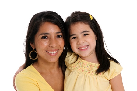 woman and daughter set on a white background photo