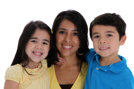 woman and kids set on a white background photo