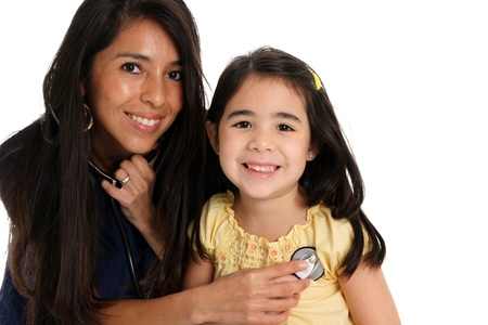 A female nurse with patient set on a white background Stock Photo - 13399306