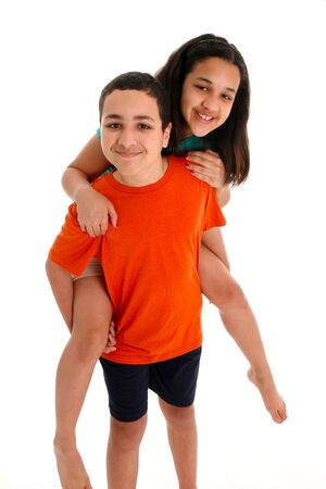 Teen Brother and Sister on a White Background Stock Photo - 13408647