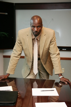 Young african american businessman dressed in a suit