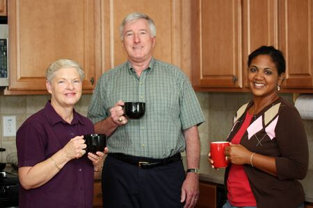 Happy Interracial Family Together In The Kitchen  photo