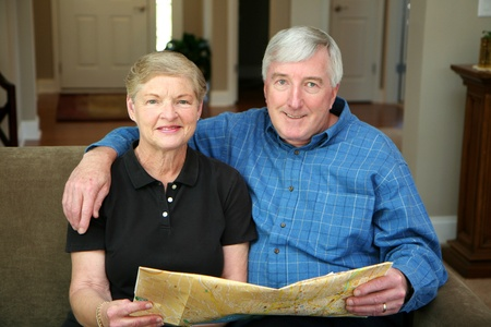 Senior couple making plans during their retirement photo
