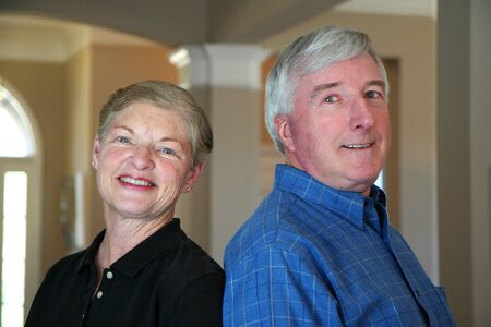Senior couple together in their home Stock Photo - 13409045
