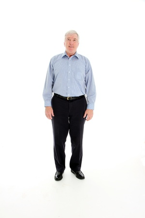 citizens: Senior Citizen Standing Alone on White Background