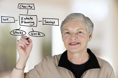 estate planning: A senior woman planning out her estate