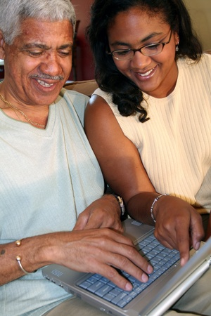 Father and Daughter on Computer photo