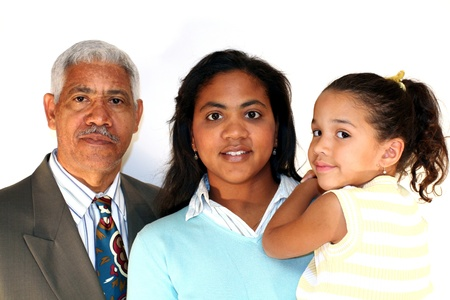 three generations of women: Grandfather, Daughter, and Child