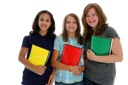 Teenage Girls Ready for School on White Background Stock Photo - 13399217