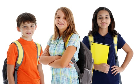 mid teens: Student children in colorful shirts against a white background