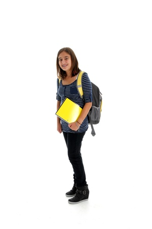 Picture of a child going to school set on white background Stock Photo - 13413097