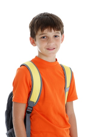 mid teens: Picture of a child going to school set on white background