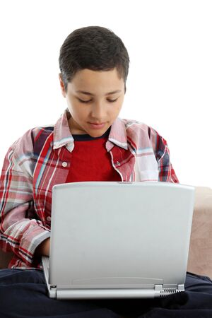 Picture of a boy on computer set on white background