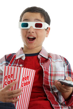 Picture of a child set watching a movie on white background photo
