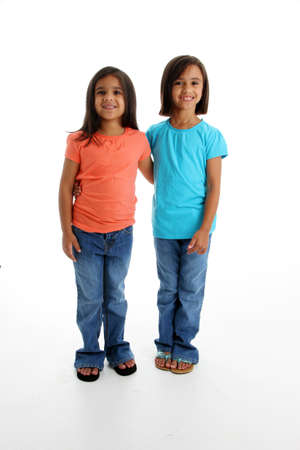 Young Sisters Standing Together on White Background Stock Photo - 13400285