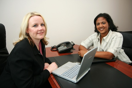 Business Team in an office ready for the work day photo
