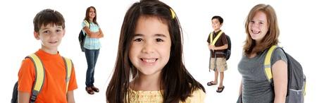 흰색 배경에 컬러 풀 한 셔츠에있는 학생의 아이들