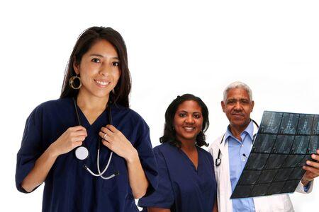 Minority doctor set on white background photo
