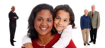 Minority woman and her daughter with grandparents on white background