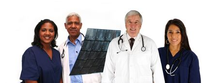 Group of doctors and nurses set on white background photo