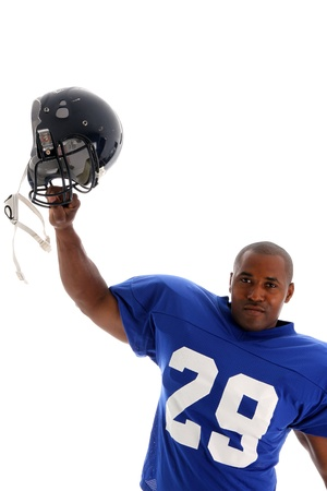 blue helmet: Football Player shot on a white background