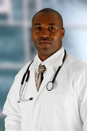 man doctor: Minority black doctor working at the hospital Stock Photo