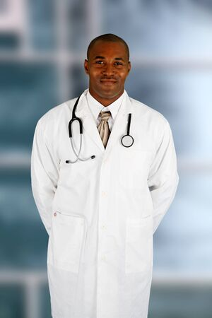 Minority black doctor working at the hospital photo