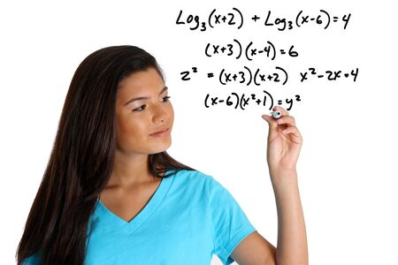Teen girl doing a math problem with black marker Stock fotó - 13459707