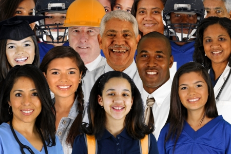diverse teens: People of all different races and professions Stock Photo