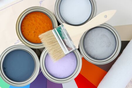 can: Paint cans ready to be used on white background