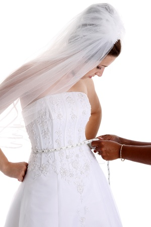 tailor measure: Woman in a wedding dress on white background