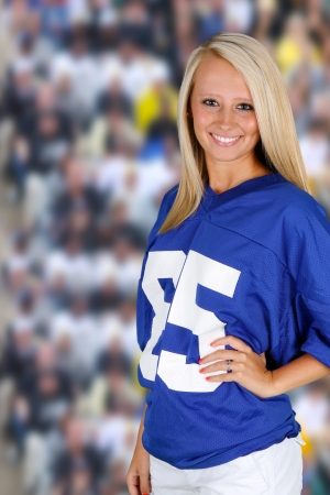 color fan: Teenage girl at a football game cheering for her team