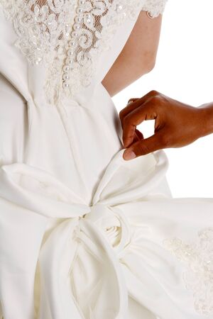 interracial marriage: Woman in a wedding dress on white background