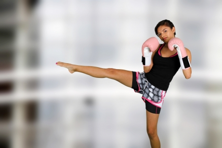 arts: Teen girl working out in the gym Stock Photo