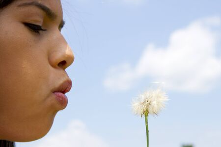 Teen girl blowing a dandelion in the summer Stock Photo - 14449778