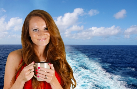 cruise travel: Woman drinking coffee while on a cruise ship