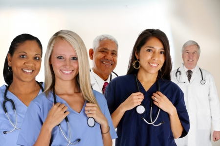 Group of doctors and nurses set in a hospital photo
