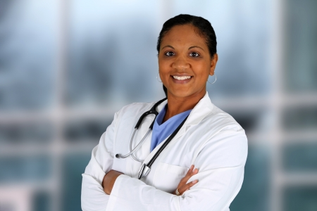 Minority doctor working at her job in a hospital Stock Photo - 14666146