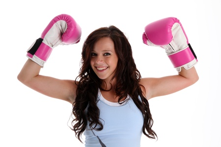 martial arts woman: Teen girl working out in the gym Stock Photo