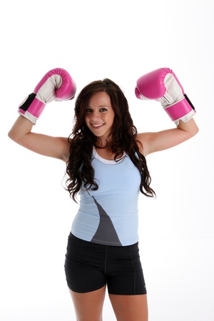 mixed martial arts: Teen girl working out in the gym Stock Photo