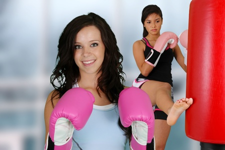 martial art: Teenage girls working out in the gym