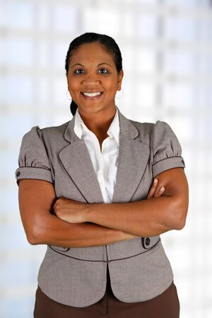 Businesswoman working at her office by herself photo
