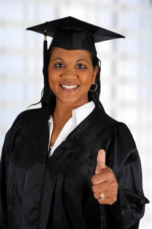 minority: Graduation of a woman dressed in a black gown