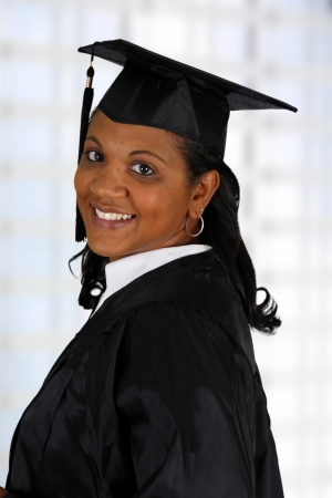 Graduation of a woman dressed in a black gown photo