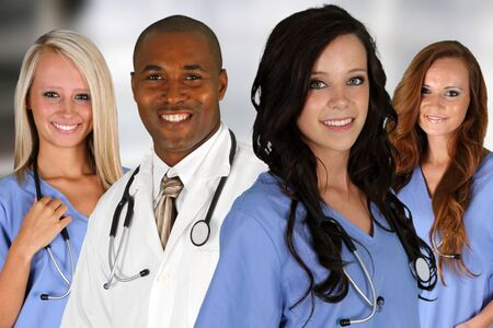 Group of doctors and nurses set in a hospital Stock Photo - 14747972
