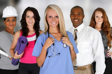healthcare workers: Team of professionals all standing in an office