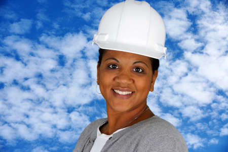 Woman working in the construction field outside photo