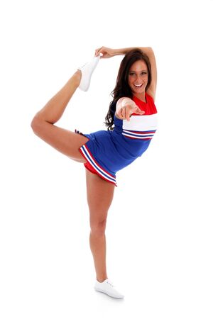 Cheerleader with uniform on a white background Imagens - 14839007