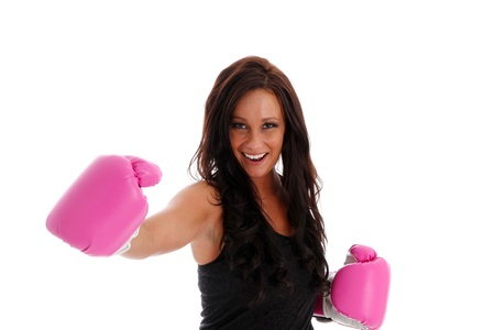 mixed martial arts: Woman boxing with a punching bag on white background Stock Photo